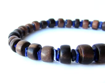 Mens bracelet for blue and brown business casual. - Ebony and Lapis