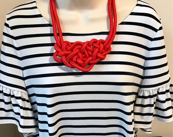 Fiesta Red Nautical Rope Knot Statement Necklace