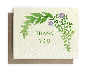 Botanical Thank You Card - Plantable Seed Paper - Blank Inside