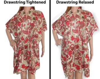Red and Beige floral Kaftan (Getting ready robes, Nursing mothers, Lounge wear, Beach cover up, Bridesmaids Gifts)