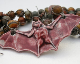 flying bat necklace, knotted jasper bead necklace, halloween necklace, knotted necklace, gemstone jewelry necklace