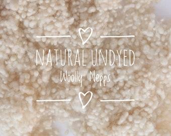 Natural undyed woolly nepps - effect fibre - texture - spinning - felting