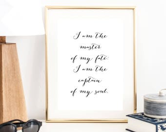 I am the Master of My Fate: I am the Captain of My Soul Print | Wall Art | Typography Poster | Wall Decor | Minimal Art Print | Office Decor