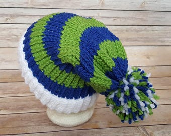 Blue Green Slouchy Hat, Blue Green Sports Team Hat, Seahawks Hat, Knitted NFL Hat, Knitted Seattle Seahawks Hat, Seahawks Beanie
