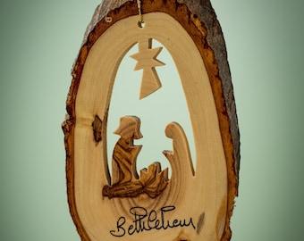 N24/Olive wood ornament/ hand carved Christmas tree ornament/Bethlehem/Holy land