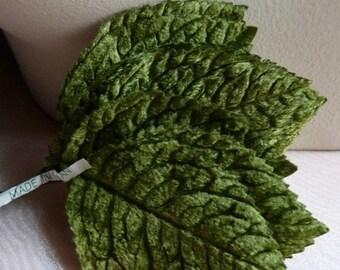 12 Green Leaves Velvet Vintage Japanese for  Bridal, Corsages, Bouquets, Scrapbooking, Millinery, Headbands ML 94