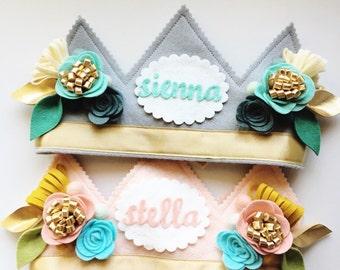 Personalized Birthday Crown, Flower Birthday Crown, BoHo Birthday, Felt Floral Crown, Golden Flower Crown, Name Crown, Personalized Birthday