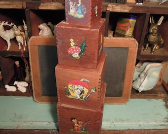 Antique Wood Nesting Blocks / Vintage Stacking Blocks / Vintage Wood Toys / Vintage Nursery Decor