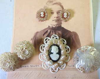 SALE Cameo Shell Carved Brooches Earrings Vintage lot 394