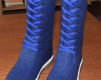 Women's blue felted boots