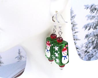 Snowman Earrings, Silver Filled Earrings, Christmas Jewelry, Snowflake Earrings, Xmas Jewelry, Red Green Earrings, Holiday Jewelry 2in