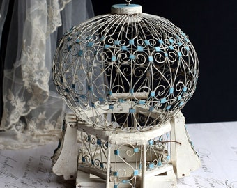 Antique Bird Cage French Blue & White Wooden Wire Bird's Cage