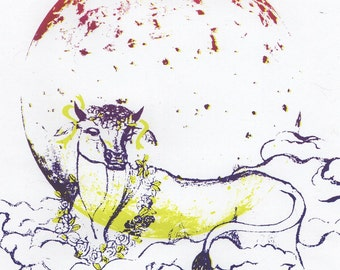 Io Myth and Moon Screenprint - Silkscreen Print of Io, Jupiter's Moon and the Greek Mythical Io, Nymph as Cow with Clouds, Astronomy + Myth
