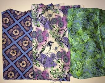 Caiman Quilt Fabric - 100% cotton - Westminster Fibers - Blue/Purple/Green