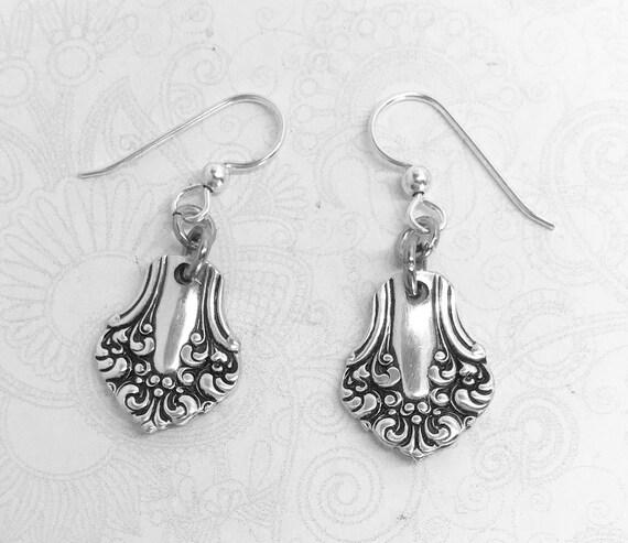 """Antique Spoon Earrings, Dangle Earrings, Demitasse Silverware Jewelry, """"Avon"""" 1901"""