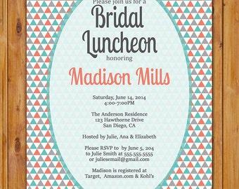 Bridal Luncheon Invitation Triangles Geometric Turquoise Coral Grey Printable Shower Birthday Baby Invite Digital JPG 5x7 (284)