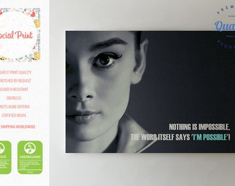 "Audrey Hepburn ""Nothing is Impossible"" quote, Canvas Print, fine art photo gallery print Artwork Giclee decor photos wall art turquoise"