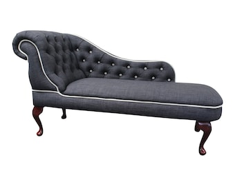 Abigail Chaise Longue/Day Bed in a Contrasting Charcoal and cream Linen fabric