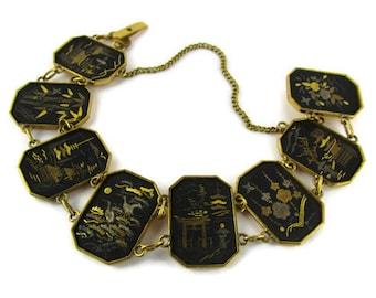 Amita Damascene  Shakudo Bracelet / Japan Mount Fuji Scenery / Vermeil 24k  Silver/ Pagoda Heron Bonsai Bracelet/ Japanese Komai Shakudo