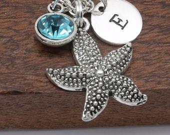 Starfish necklace, starfish jewellery, starfish pendant, beach gift, bangle, beach jewellery, initial
