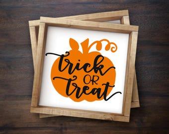 Pumpkin Trick or Treat Halloween Sign