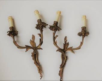 Pair Large Antique French Bronze Wall Sconces, 2 French Wall Lights. Pair French Rococo Acanthus Leaf Wall Lights.