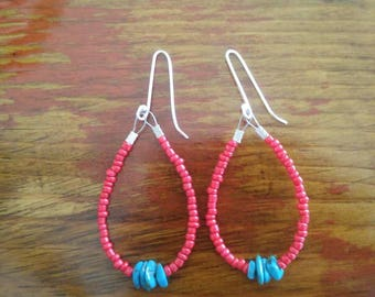 Red Glass Hoop Earrings with Natural Turquoise