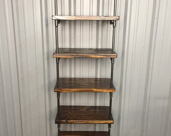 industrial style entertainment center pipe shelves bookcase rh etsy com 16 Inch Deep Shelves 24 Inch Deep Bookcases
