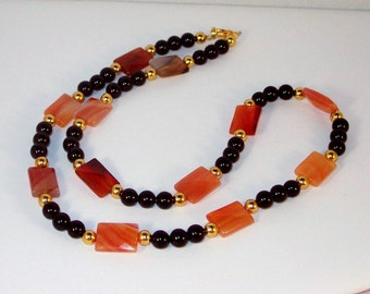 Black Obsidian and Carnelian Necklace