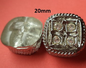 8 STRASSKNÖPFE Silver 20 mm (4724) Buttons Rhinestone button