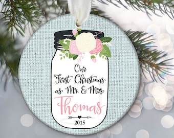 Our First Christmas Ornament Mr & Mrs Wedding Gift Floral Mason Jar Personalized Christmas Ornament Rustic Ornament Newlywed Gift OR289