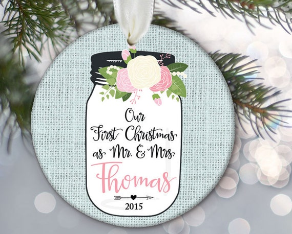 Christmas Ornament Wedding Gift: Our First Christmas Ornament Mr & Mrs Wedding Gift Floral