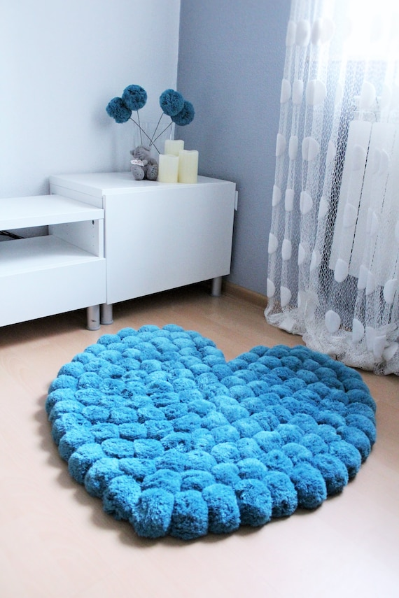 Big Pom Pom Rug Heart Rug For A Girl Room Teen Room Rug