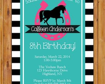 Horse Birthday Invite Horse Derby Riding Lucky Horseshoe Western Party Trendy Black White Stripe  Printable Invitationas (152)