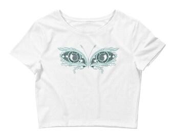 Crop top, Steampunk butterfly crop top, Steampunk shirt, Butterfly top, Butterfly t-shirt, Steampunk T-shirt