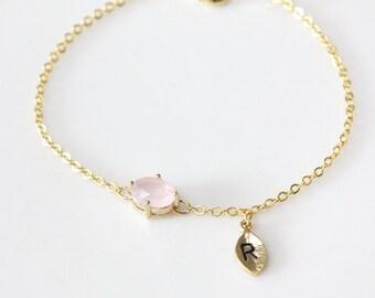 Bridesmaid gifts - Set of 7/8/9/10 -Leaf initial, Dainy pink stone bracelet, Initial bracelet, Personalized bracelet