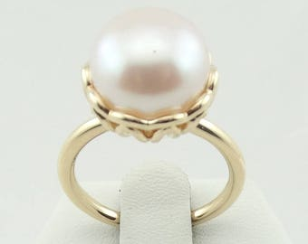 Vintage 14K Gold Pearl Ring FREE SHIPPING!  #TULIP2-SR
