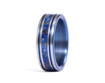 Women's  titanium anodized and semi- precious lapispazuli ring. Unique blue wedding band. Water resistant and hypoallergenic (03201_6N)
