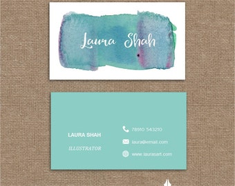 Printable stylish elegant water colour aqua business card, calling card for your business
