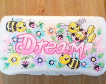 Personalized Baby Wipes Travel Case - Dream Ladybugs and Bees - Handpainted
