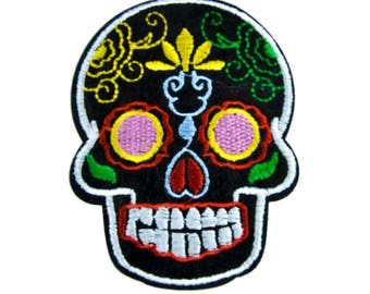 Colorful Sugar Skull Patch Iron on Applique Calaveras Dia De Los Muertos - DYS-PA-284-Patch