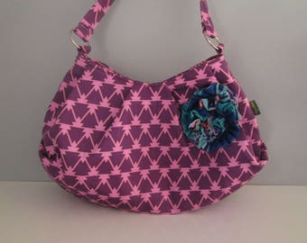 Large Shoulder Bag, Pleated Purse, Hobo Handbag, Purple Shoulder Bag, Purple Handbag, Fabric Shoulder Bag