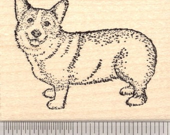 Pembroke Welsh Corgi Rubber Stamp J5614 Wood Mounted