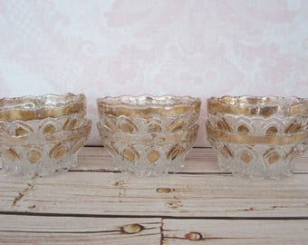 Set Of Six Glass Dessert Dishes Embossed Scalloped Gold Accent Small Glass Bowls Set Of Six Ice Cream Dishes