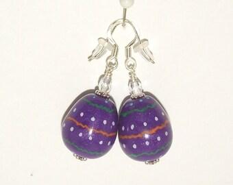 Dangle Easter Egg Earrings Hand Painted on Handmade Polymer Clay Beads