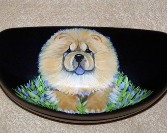 Hand painted chow larger eyeglasses or sunglasses case