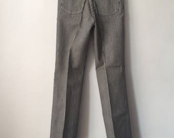 vintage wrangler railroad stripe jeans student size 12 slim deadstock NWT 70s made in USA