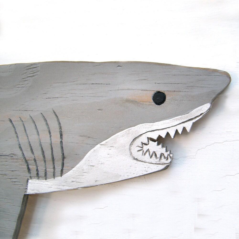 Large Wooden Shark Nautical Wall Decor Outdoor Art