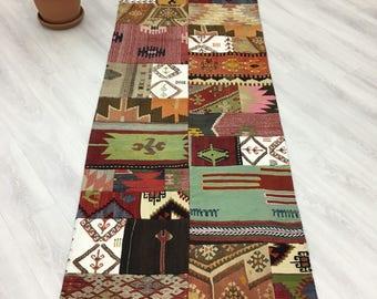 "Vintage Fashion Eclectic Turkish Patchwork Rug,Fine Quality Handmade Patched Kilim Runner Rug,Hallway&Kitchen Runner 2'10""x10'5"""