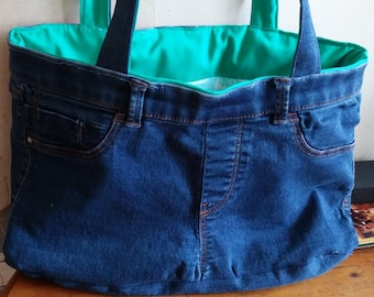 Denim and cotton reversible bag